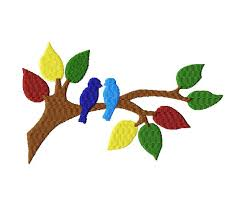 free for members only fill stitched two birds in tree design