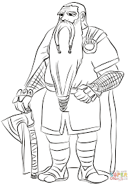 old dwarf with axe coloring page free printable coloring pages