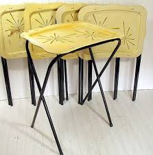 tv dinner table set vintage metal tray tables set of 5 retro atomic black yellow