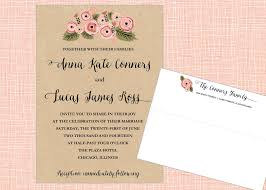 kraft pink floral printable wedding invitation suite the