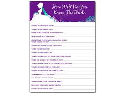 Bride Cards How Well Do You Know The Bride Shower Game Personalized Cards Pdf