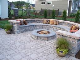Block Patio Designs Paver Patio With Firepit And All Around Sitting Wall Backyard