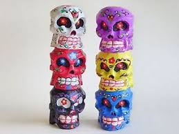 wooden carved sugar skull day of the dead totem pole multi
