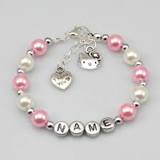 baby name bracelets baby name personalised girl birthday gift charm bracelet cat pink