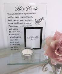 memorial tea light candle holder glass memorial her smile photo frame tealight tea light candle