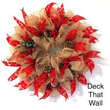 burlap jute christmas mesh wreath u2013 deck that wall