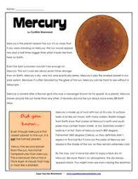 super teacher worksheets the planet mercury super teacher english