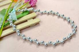 pearl necklace with ribbon images How to make a silver gray pearl necklace with ribbon tie jpg