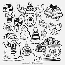sketches of typical elements of christmas vector free download