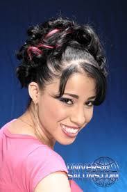 swoop ponytail hairstyles curly ponytail hairstyle with a swoop bang and red highlights from
