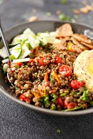 Mediterranean Style Salad Mediterranean Style Detox Bowl With Marinated Lentils Veggies By