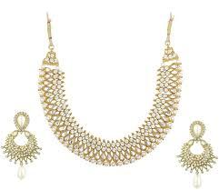 white stone necklace sets images Imitation gold tone floral motif necklace set jpg