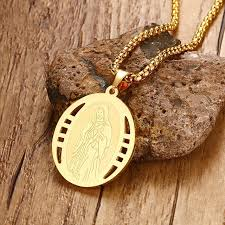 mens christian jewelry mens miraculous pendant necklace for men woman yellow