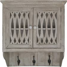 distressed entryway wood wall cabinet with 3 coat hooks