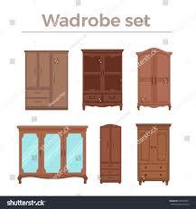 Furniture Style Furniture Cartoon Vector Illustration Wood Wardrobe Stock Vector