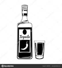 alcohol vector tequila glass and botlle alcohol drink vintage vector elements
