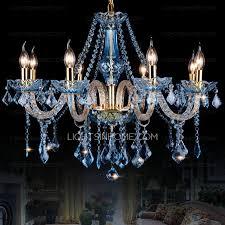 blue crystal chandelier light luxury 8 light blue crystal chandelier hanging twig type