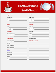 Potluck Signup Sheet Template Word 13 Charming Breakfast Potluck Sign Up Sheets Free Word