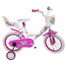 siège vélo é vélo micol 14 pouces fille avec panier siège poupée et roulettes