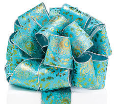 peacock ribbon 40 gold peacock turquoise wired ribbon