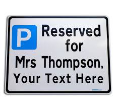 metal reserved table signs custom parking reserved sign metal faced yourtext made to order