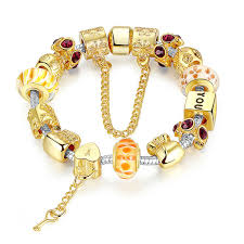 gold bead charm bracelet images Gold plated charm bracelet bangle with exquisite glass beads jpg