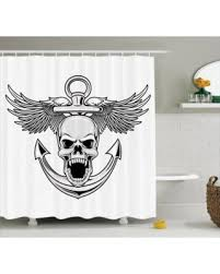 Skull Bathroom Accessories by Spring Into Savings On Anchor Decor Shower Curtain Set Skull With
