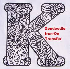 letter k transfer iron on heat press coloring page zendoodle
