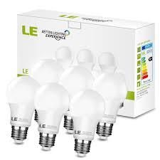 le better lighting experience 7w a19 e26 led light bulbs 120vac 5000k 450lm pack of 6 units le