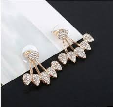 new fashion gold earrings huboor new fashion drop crystals stud earring for women gold color
