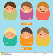 abstract cartoon icons vector set of characters with happy and