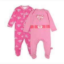 dc comics supergirl infant s 2 pairs footed pajamas 0 6 months