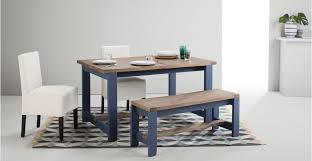 Dining Table Without Chairs Dining Table And Bench Set Solid Wood And Blue Bala Made