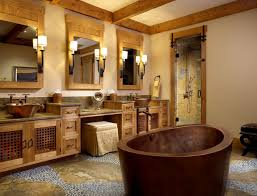 bathroom with drop in tub and copper vessel sinks bathroom
