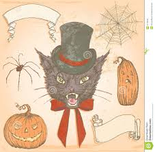 hand drawn vintage halloween creepy cat vector set stock image