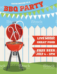 backyard bbq background invitation template stock vector art