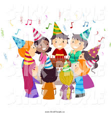 singing happy birthday vector graphic of diverse kids singing happy birthday around a