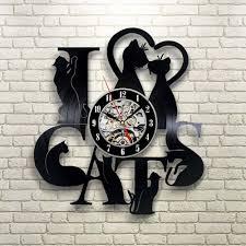 vinyl record clock cat theme wall watch vintage retro classic