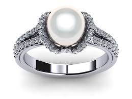 pearl and diamond engagement rings 14k white gold diamond white pearl ribbon ring