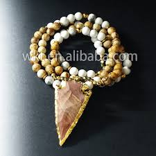 natural beads necklace images New natural stone beads necklace raw agate arrowhead pendant jpg