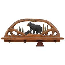 black bear wood shelf coat rack