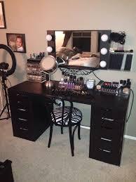 black vanity set with lights large capacity premium quality plastic makeup palette organizer