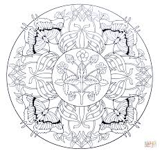 mandala with butterflies and strawberry coloring page free