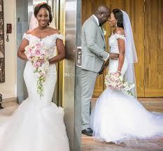 nigerian african design mermaid wedding dresses 2017 off shoulder