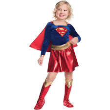 halloween costume with cape supergirl child velvet deluxe dress halloween costume walmart com