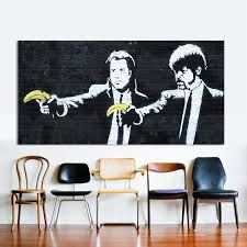 online buy wholesale banksy wall decor from china banksy wall hdartisan modern oil painting graffiti canvas art pulp fiction banksy wall pictures for living room modular