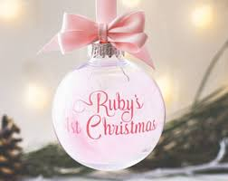 Baby S First Christmas Bauble Pink by Personalised Bauble Etsy