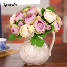 artificial peonies kyunovia silk peony wedding flowers 5 heads artificial peonies