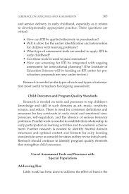 11 guidance on outcomes and assessments early childhood