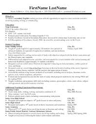 Teacher Resume Examples Secondary Education Resume Examples Resume Sample Education